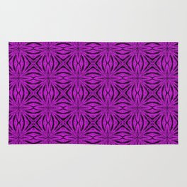 Black and Dazzling Violet Floral Rug