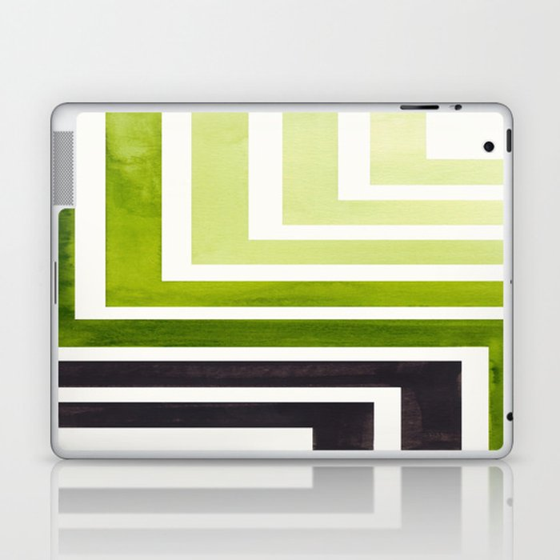 Sap Green Minimalist Inca Geometric Mid Century Modern Watercolor Pattern  Maze Laptop & iPad Skin by incamodern
