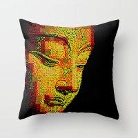 buddah Throw Pillows featuring Buddah II by noirlac