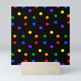 Playful Dots in Primary and Secondary Colors on black background Mini Art Print