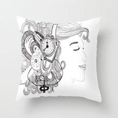 Robot Girl Throw Pillow