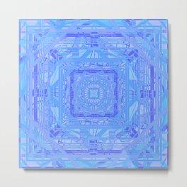 Gorgeous Pastel Purple and Blue Geometric Mandala Metal Print