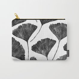 Ginkgo biloba, Lino cut nature inspired leaf pattern Carry-All Pouch