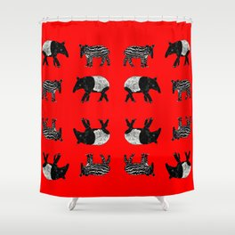Dance of the Tapirs in red Shower Curtain