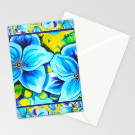 Blue Poppies 3 with Border Stationery Cards