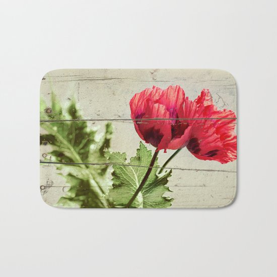 The Things We Remember - red poppy photo on wood texture Bath Mat