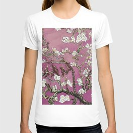 Vincent van Gogh Blossoming Almond Tree (Almond Blossoms) Fuchsia Sky T-shirt