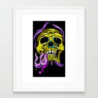 gore Framed Art Prints featuring SKULL-GORE by scarecrowoven