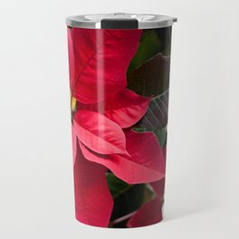 Red and Green Poinsettia Photography Print Travel Mug