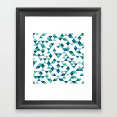 Triangles Blue and Green Framed Art Print