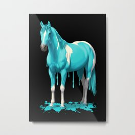 Cyan Blue Funny Wet Paint Horse Metal Print