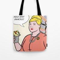 lichtenstein Tote Bags featuring Pam Lichtenstein by turantuluy