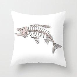 King Salmon Skeleton Drawing Throw Pillow