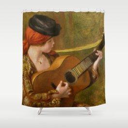 """Auguste Renoir """"Jeune Espagnole jouant de la guitare""""(Young Spanish Woman Playing a Guitar) Shower Curtain"""