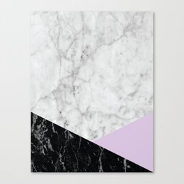 White Marble Black Granite & Light Purple #388 Canvas Print