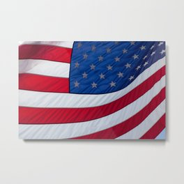 United States Flag flying in the breeze.  Long may she wave. Metal Print