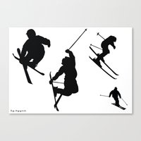 skiing Canvas Prints featuring Skiing silhouettes by By Myyna