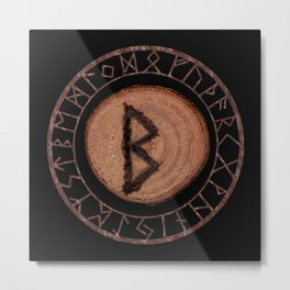 Berkano Elder Futhark Rune secrecy, silence, safety, mature wisdom, dependence, female fertility Metal Print