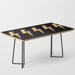 Rainbow Bolts on Black Coffee Table