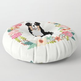 australian shepherd tricolored floral wreath dog gifts pet portraits Floor Pillow