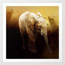 The cute elephant calf Art Print