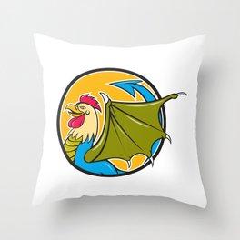Basilisk Bat Wing Circle Cartoon Throw Pillow