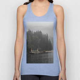 Foggy mornings at the lake II - landscape photography Unisex Tank Top