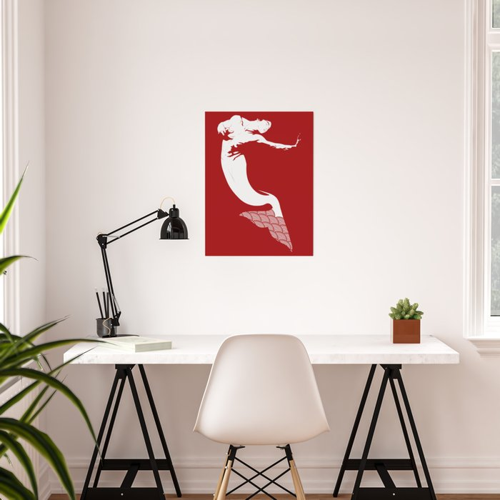 Merman - Red & White - Mermay 2019 Poster