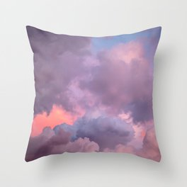 Pink and Lavender Clouds Throw Pillow