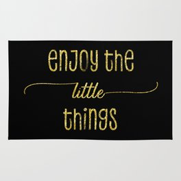 TEXT ART GOLD Enjoy the little things Rug