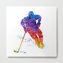 Boy Ice Hockey Colorful Watercolor Artwork Metal Print