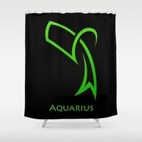 aquarius Shower Curtains featuring Aquarius by Groovyal
