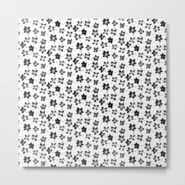 Reconstructed Floral Pattern - Achromatic Goth Metal Print
