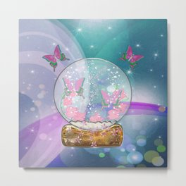 Butterfly Globe Fantasy Art Metal Print