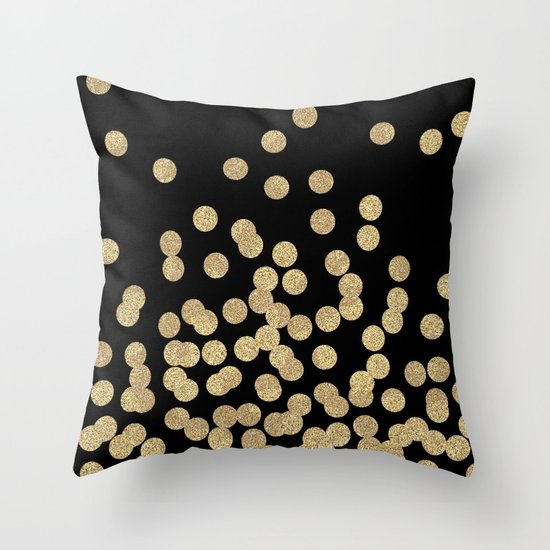 Gold glitter dots scattered on black background Throw Pillow by CharlotteWinter Society6