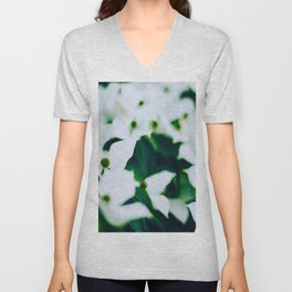 Bouquet Of White Flowers With Blurry Edit Unisex V-Neck