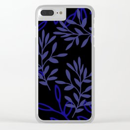 Leafy Blue Clear iPhone Case