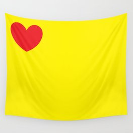 Red heart in yellow Wall Tapestry
