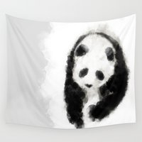 pandas Wall Tapestries featuring Love Pandas by marcegaral