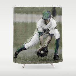 Stopping a Ground Ball in Baseball Game Shower Curtain