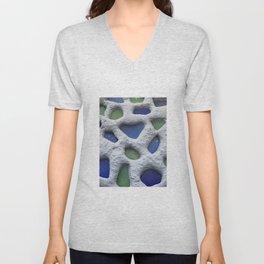 Sea Glass Mosaic Detail Unisex V-Neck
