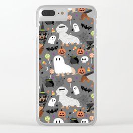 Dachshund dog breed halloween cute pattern doxie dachsie dog costumes Clear iPhone Case