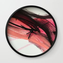 Entangled: a vibrant, colorful, abstract mixed-media piece in pinks and reds Wall Clock
