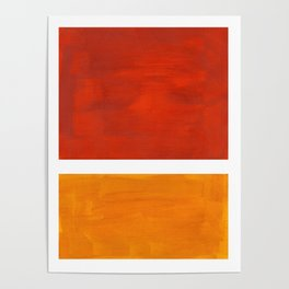 Burnt Orange Yellow Ochre Mid Century Modern Abstract Minimalist Rothko Color Field Squares Poster