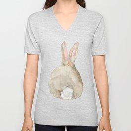 Cottontail Bunny Rabbit Watercolor - Back Unisex V-Neck