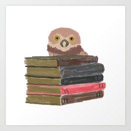 Owl with books Art Print