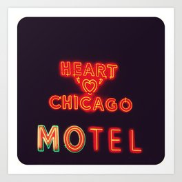 Heart 'O' Chicago Motel (Night) ~ vintage neon sign Art Print