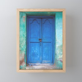 Blue Indian Door Framed Mini Art Print