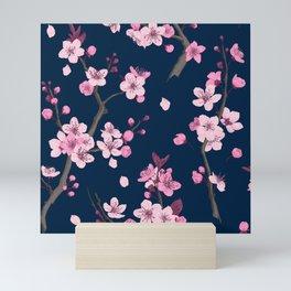 Sakura Cherry blossoming Watercolor hand painted illustration pattern on purple background Mini Art Print