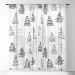 Trees Pattern Black and White Sheer Curtain